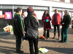 Singing outside the proposed Tesco site